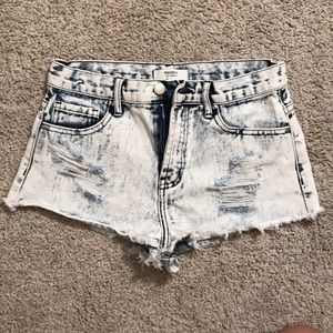 Bleached washed shorts